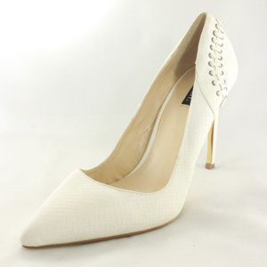New SHOEMINT Lulu White Textured Pump Heels